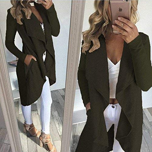 Betrothales Betrothales Armeegrün Donna Irregular Cashmer Cappotto Cappotto Cappotto Invernali Laterali Tasche Cardigan OOaARvS