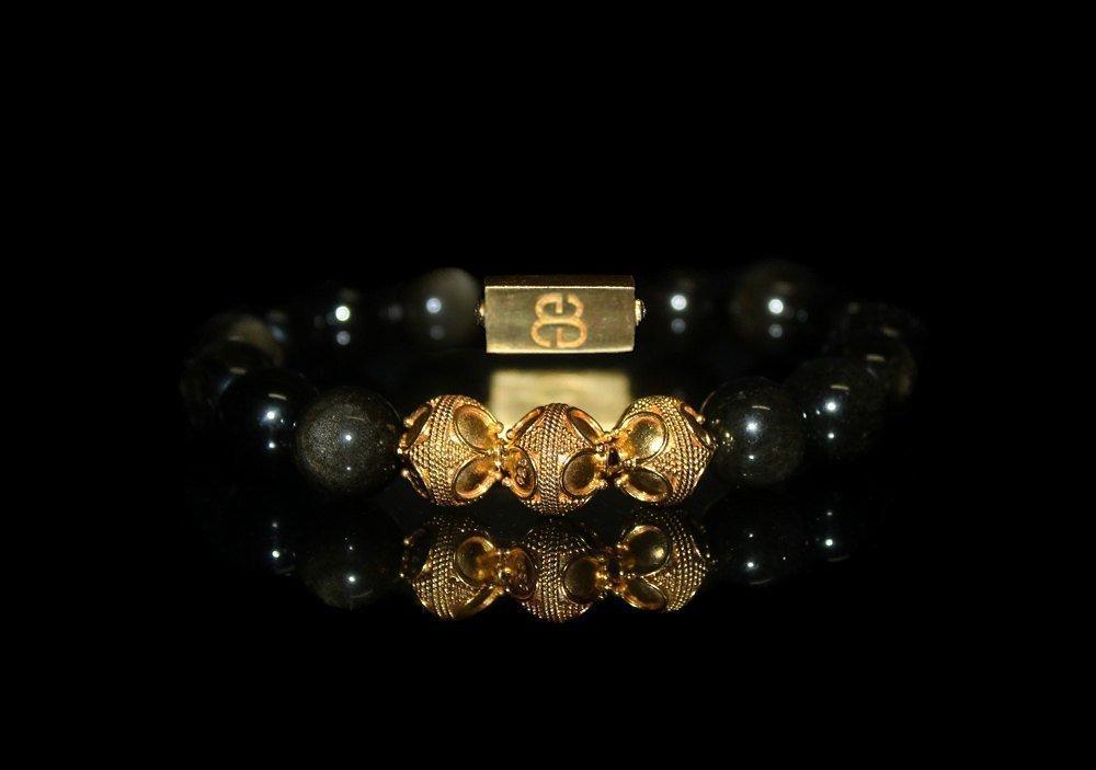 Men's Golden Obsidian and Gold Vermeil Bracelet, Luxury Bracelet for Men, Golden Shimmer Obsidian Bracelet
