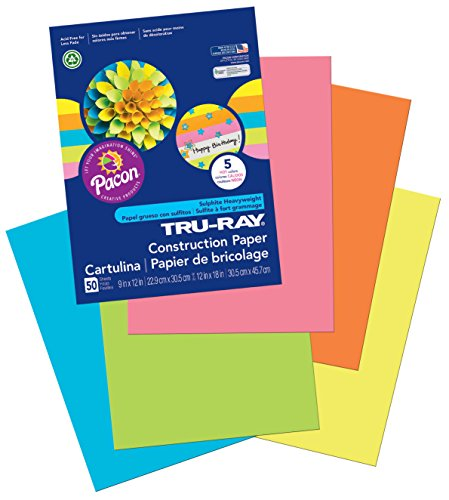 "Pacon Tru-Ray Construction Paper, 9"" x 12"", 50-Count, Hot Assorted (6596)"