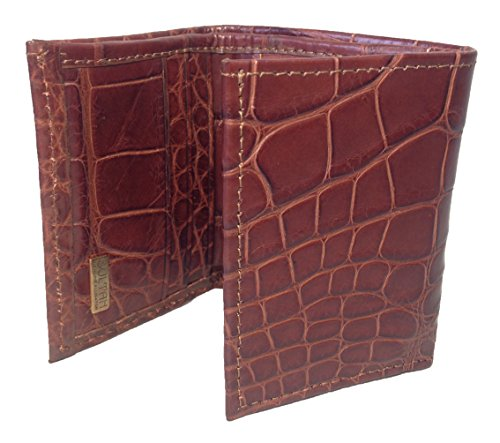 Wallet Cognac Genuine Trifold Sultan Safari Men's gloss Alligator Semi xnXqwIv