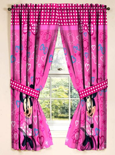 Minnie Mouse Window Panel Drapes, Bow-tique Curtains: Amazon.co.uk ...