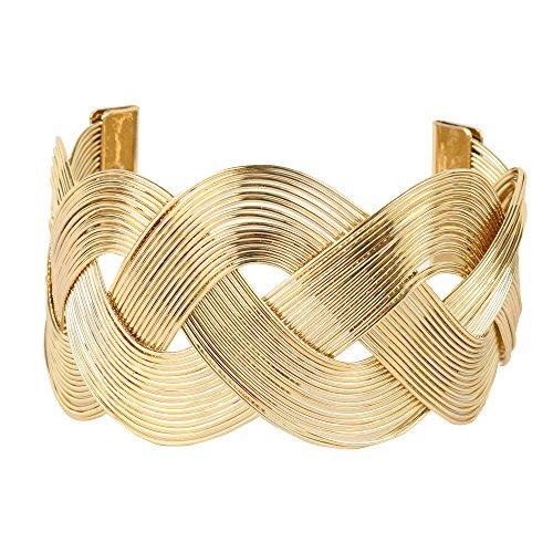 Weave Silver Bracelet (Miss Mimi Wide Weave Gold Silver Plated Embossed Large Arm Cuff Bracelet)