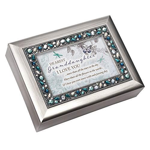 Cottage Garden Granddaughter I Love You Brushed Silvertone Blue Jeweled Music Box Plays Wonderful World