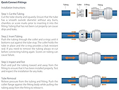 Avanti 1/4 3-way Union Tee Fitting for drinking water filter RO reverse osmosis - 1/4 x 1/4 x 1/4 tubes, quick-connect fittings - QF-UT04