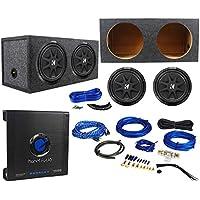(2) Kicker 43C124 12 Subwoofers+Sealed Sub Box Enclosure+Mono Amplifier+Amp Kit