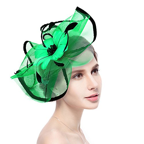 Fascinator Hat Jack & Rose Flower Feather Net Mesh Kentucky Derby Tea Party Headwear with Hair Clip and Hairband for Women or Girls (Green)
