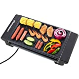 Excelvan Portable Electric Grill Indoor Barbecue with Large Easy Cleanup Cooking Surface and Thermostat Drip Tray,1400W (Black,S)