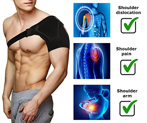 Shoulder Brace Rotator Cuff Support for Men and Women for Injury Prevention, Dislocated AC Joint, Arthritis, Tendonitis with Adjustable Strap, Pressure Pad + Breathable Neoprene by BusyBee (Image #5)