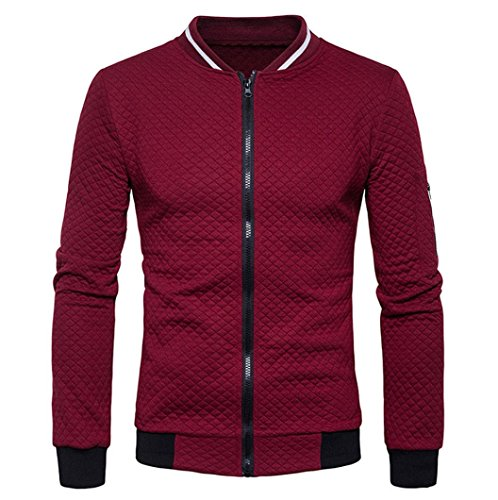 HTHJSCO Tops Jacket Coat, Mens Casual Soft Lightweight Zip up Baseball Collar Bomber Jacket with Diamond Plaid (Wine Red, M) by HTHJSCO