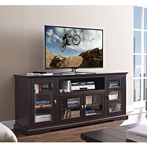 New 70 Inch Wide Highboy Style Wood Tv Stand-Espresso Brown Finish by Home Accent Furnishings