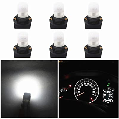 WLJH White T10 Led Light Bulb W5W 194 2825 Car Dash Lights Gauge Dashboard Instrument Cluster Panel Interior Lights Twist Socket PC194 PC195 PC168, Pack of 6: Automotive