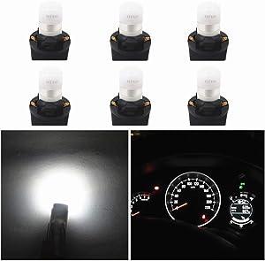 WLJH White T10 Led Light Bulb W5W 194 2825 Car Dash Lights Gauge Dashboard Instrument Cluster Panel Interior Lights Twist Socket PC194 PC195 PC168, Pack of 6