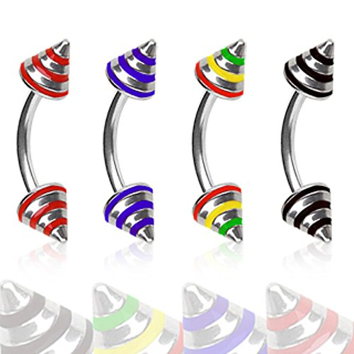 316L Surgical Steel Eyebrow Ring with 3 Striped Spikes (Sold (Stripe Eyebrow Ring)