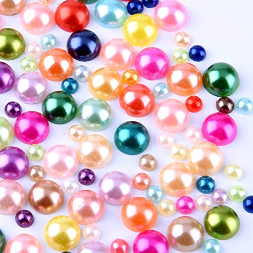- 400 pcs DIY Art Mixed color Half Round Pearl Bead Flat Back 4mm - 8mm Scrapbook for Craft M1-10
