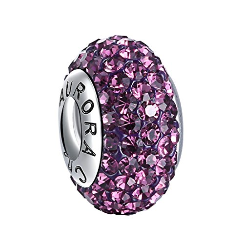 925 Sterling Silver FEBRUARY Birthstone Charms Cubic Zirconia Crystal Purple Amethyst Screw Thread Core Top Quality Fit MOST Charm Bracelet By Aurora Charm