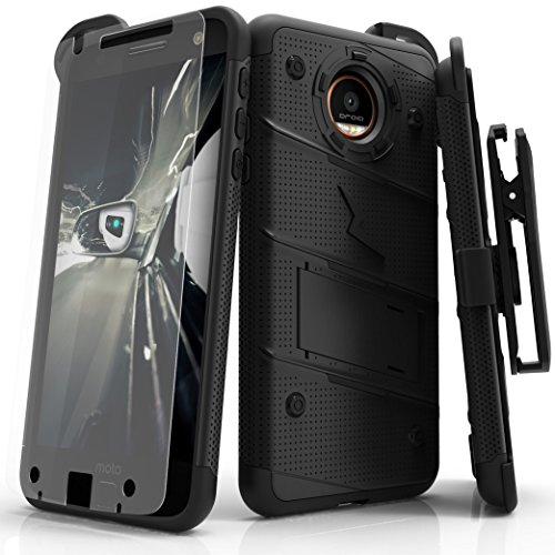 Zizo Bolt Series Compatible with Motorola Moto Z2 Force Case Military Grade Drop Tested with Tempered Glass Screen Protector, Holster Black