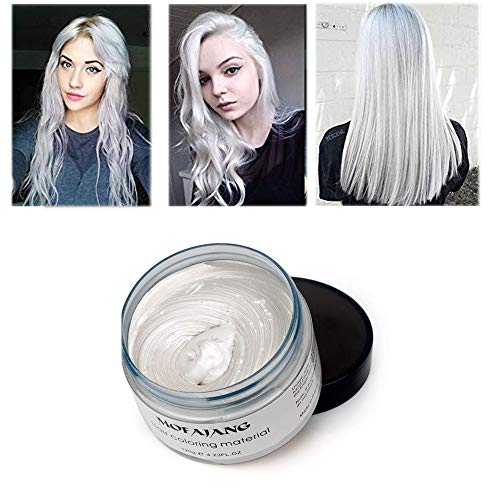 (Hair Coloring Wax, Ivory White Disposable MOFAJANG Instant Matte Hairstyle Mud Cream Hair Pomades for Kids Men Women to Cosplay Nightclub Masquerade)