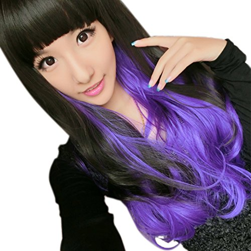 [LIANGSM Women's Long Curly Wavy Hair for Cosplay Wig (black+purple)] (Lalaloopsy Adult Costumes)
