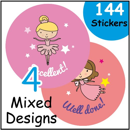 144 Girl themed 30mm reward stickers EzStickers