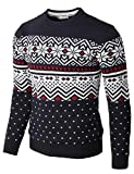 H2H Mens Casual Slim Fit Knitted Crew Neck Sweaters Thermal of Various Christmas Pattern Navy US L/Asia XL (CMOSWL052)
