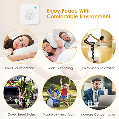White Noise Machine for Sleeping, 2019 Upgraded Sleep Relax Sound Machine with 8 Soothing Nature Sounds for Baby Adult Traveler