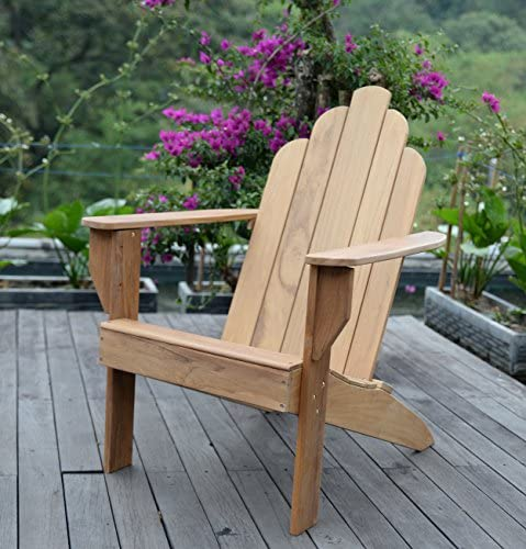 Cambridge-Casual Solid Wood Arie Adirondak Chair, Adirondack, Natural Teak