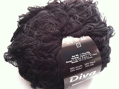 S. Charles Collezione Diva #2040 Onyx Black Acrylic Wool Nylon Silk Loop Boucle Yarn 50 ()