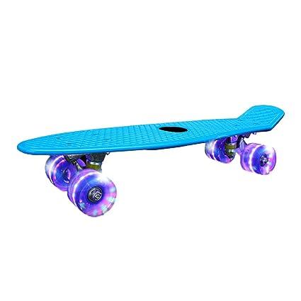 XIANGHUi Monopatin Niños, Mini Skateboards con Plataforma Robusta y 4 Ruedas de PU Transparentes para