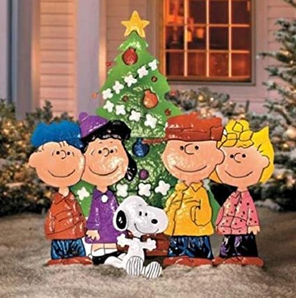 outdoor metal christmas peanuts charlie brown friends yard art display decor - Charlie Brown And Snoopy Christmas Decorations