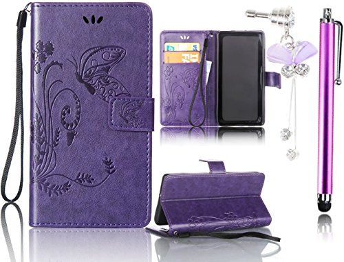 Samsung Galaxy S6 Edge Plus Case, Bonice 3 in 1 Accessory PU Leather Flip Practical Book Style Magnetic Snap Wallet Case with [Card Slots] [Hand Strip] Premium Multi-Function Design Cover + Stylus Pen + Diamond Rhinestone Butterfly Antidust Plug, Purple