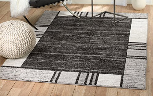 SUMMIT BY WHITE MOUNTAIN Rio 69-YAK2-HR2T Summit 309 Grey Black White Area Rug Modern Abstract Many (3'.6