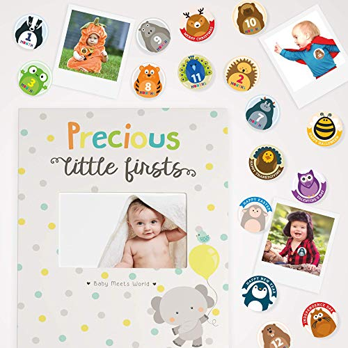 Baby Memory Book for First Year to Five, Record Each Milestone from Your Child in a Keepsake Journal, for Boys and Girls, Modern Photo Album and Baby Shower Guestbook, with 20 Baby Monthly Stickers ()