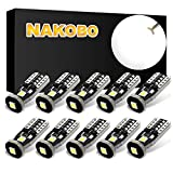NAKOBO T10 194 168 175 2825 12961 W5W Error Free Non Polarity LED Interior Car Bulb 3SMD 3030 Chipset for Car Interior Dome Map Door Courtesy License Plate 6000K Pure White Lights (Pack of 10)