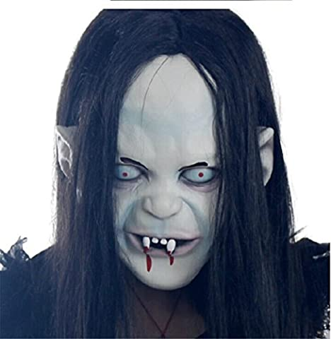 Halloween Mask Creepy Horror Grimace Ghost Zombie Emulsion Skin with Hair for Party Halloween - Carnival Tuxedo Collection