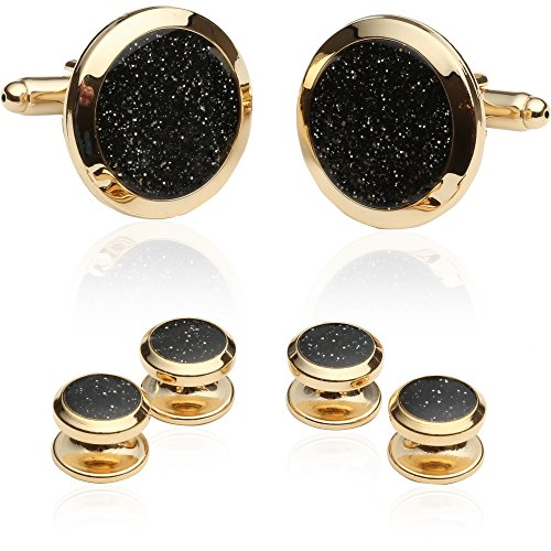 Cuff Daddy Gold Cufflinks (Cuff-Daddy Black Diamond Dust Gold Cufflinks and Studs Cuff Links with Presentation Box)