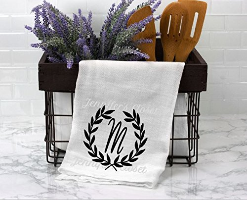 (Monogram Flour sack, Kitchen Towels, Personalized, Wedding Gift, for the couple, Anniversary, M)