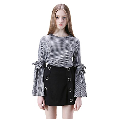Black And White Gingham Bow (Chicwish Women's Black Gingham Contrast Shirt Blouse Top with Bow Bell Sleeves)
