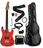 "RED Junior Kids Mini 3/4 Size 36"" Electric Guitar & Amp Starter Pack, Guitar, Temolo, Amplifier, Gig Bag, Strap, Cable, String, Tuner, & DirectlyCheap(TM) Translucent Blue Medium Guitar Pick"