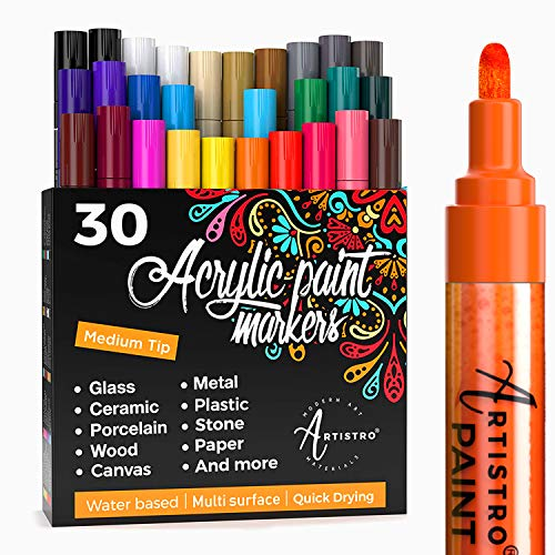 Acrylic Paint Markers Pens – 30 Acrylic Paint Pens Medium Tip (2mm) - Great for Rock Painting, Wood, Fabric, Card, Paper, Ceramic & Glass - 28 Colors + Extra Black & White Paint Marker Set