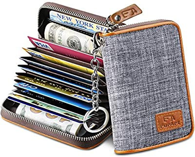 FurArt Credit Card Wallet, Zipper Card Cases Holder for Men Women, RFID Blocking, Key Chain, 15/16 Slots, Compact Size