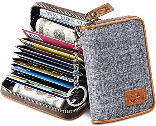 FurArt Credit Card Wallet, Zipper Card Cases Holder for Men Women, RFID Blocking, Key Chain, 12 Slots, Compact Size (Wallet Key)