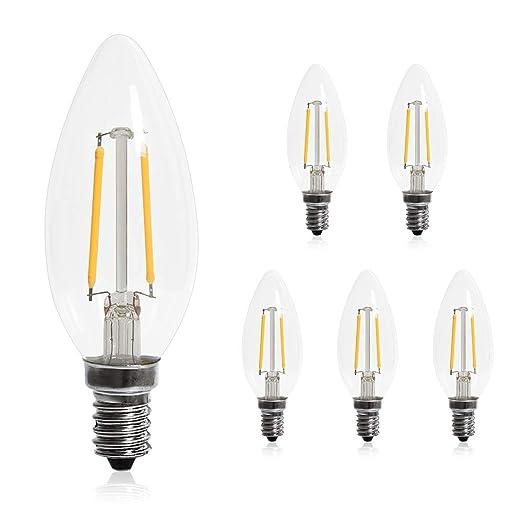 Bombillas LED E14, 5 paquetes, 200 lúmenes, 2 W C35, equivalente a