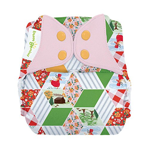 bumGenius Freetime All-in-One One-Size Snap Closure Cloth Diaper - Little House in The Big Woods Collection (Patchwork)