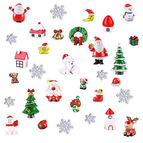 Benvo 32 Pcs Christmas Miniature Ornaments for DIY Fairy Garden Dollhouse Snow Globes Xmas Decoration Kit DIY Accessory Includes Santa,Christmas Trees,Snowman,Snowflake,Red Socks,Reindeer, etc from Benvo