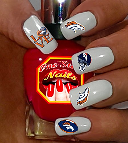 Denver Broncos water-slide nail decals -