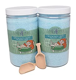 Aromatherapy Epsom Salt Bath Salts 2 Pack with Wooden Scoop (Jasmine)