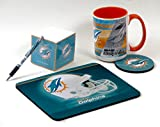 Miami Dolphins Work Station Computer Set. Includes Large Coffee Mug, Neoprene Mouse pad and Coaster, Retractable Pen and a 1000 Sheet Notepad Cube. 5 Peace Set