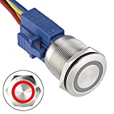 API-ELE [3 year warranty] 22mm Latching Push Button Switch 12V DC Angel Eye LED Waterproof Stainless Steel Round Metal Self-locking 7/8'' 1NO 1NC (Red)
