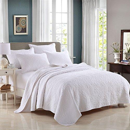 beddingleer ganzjährig weiß 100% Baumwolle 3teilig gesteppt Floral gedruckt Patchwork Tagesdecke Set, Set 31Quilt Tagesdecke 230cm * 250cm und 2Kissen shamswhite
