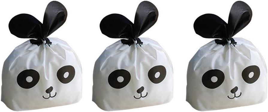 YeahiBaby 50pcs Pochette /à Bijoux Petit Sac /à Cadeau Forme de Panda Sacs de Boulangerie en Plastique Deco de Mariage Anniversaire Cadeau Bonbons Blanc Noir